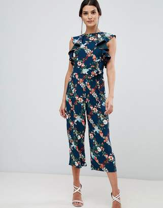 Oasis Fitzwilliam Collection jumpsuit in floral print with frill shoulder