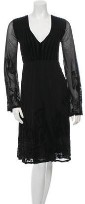 Jean Paul Gaultier Velvet-Accented Long Sleeve Dress $155 thestylecure.com