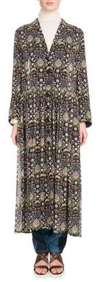 Chloé Long-Sleeve V-Neck Button-Front Blossom-Print Georgette Duster Jacket