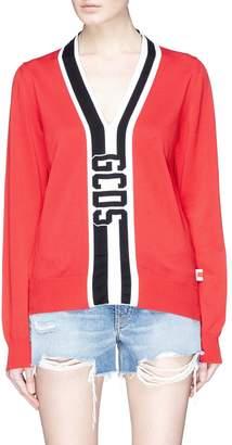 GCDS Logo stripe intarsia V-neck sweater