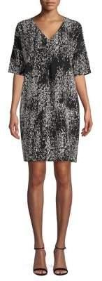 Halston H Deep V-Neck Shift Dress