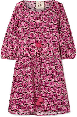 Figue Jules Tasseled Printed Cotton-voile Mini Dress - Pink