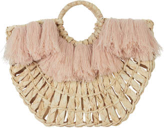 Of the Moment Nannacay Maria Pink Fringe Straw Tote