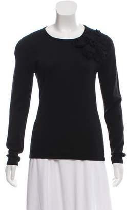 Oscar de la Renta Silk-Cashmere Scoop Neck Sweater