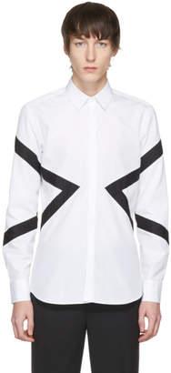 Neil Barrett White and Black Mixed Textures Modernist Shirt