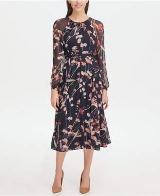 97c5013685a Tommy Hilfiger Corsage Print Chiffon Midi Dress