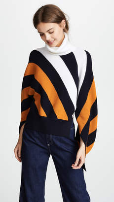 Monse Diagonal Stripe Wool Turtleneck Sweater