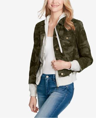 Jessica Simpson Juniors' Peony Printed Hooded Denim Jacket