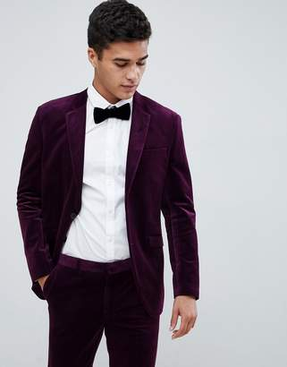 Jack and Jones Slim Fit Velvet Suit Jacket