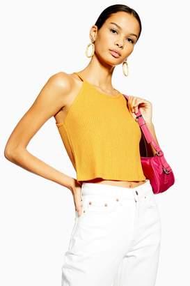 Topshop Womens Knitted Halter Neck Top - Orange