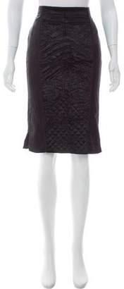 J. Mendel Velvet-Accented Knee-Length Skirt