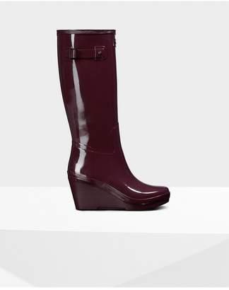 Hunter Womens Refined Slim Fit Wedge Gloss Rain Boots