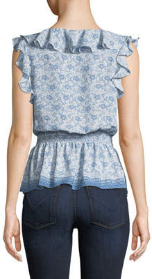 Max Studio Smocked Top with Ruffle Detail