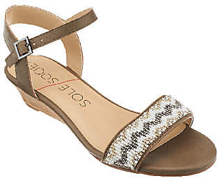 Sole Society Ankle Strap Embellished Wedges -Alcee