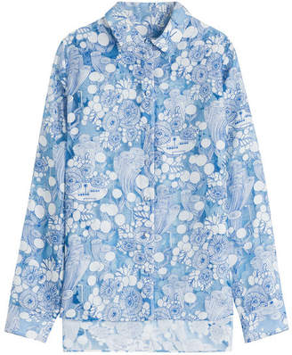 Carven Printed Asymmetric Blouse with Sheer Inserts