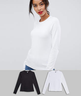 Asos Tall DESIGN Tall ultimate top with long sleeve and crew neck 2 pack