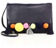 Rebecca Minkoff Sofia Pom-Pom Leather Clutch $195 thestylecure.com