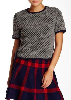 Gracia Textured Wool Blend Crop Blouse