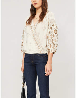 Free People Harmony embroidered cotton-blend top
