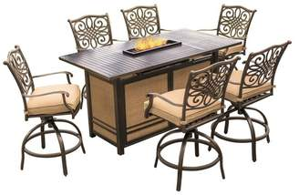 Hanover Traditions 7-Piece High-Dining Set With 30,000 BTU Fire Pit Table