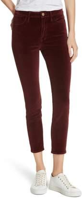Frame Velveteen High Waist Ankle Skinny Pants