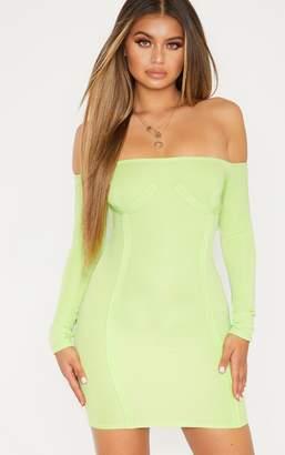 PrettyLittleThing Lime Bandage Bardot Cup Detail Bodycon Dress