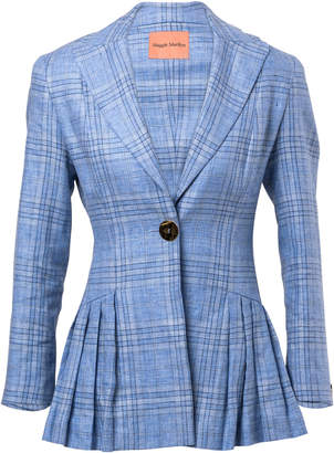 Maggie Marilyn Suit Yourself Pleated Plaid Linen Blazer