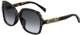 Moschino Square Acetate Sunglasses w/ Logo Temples
