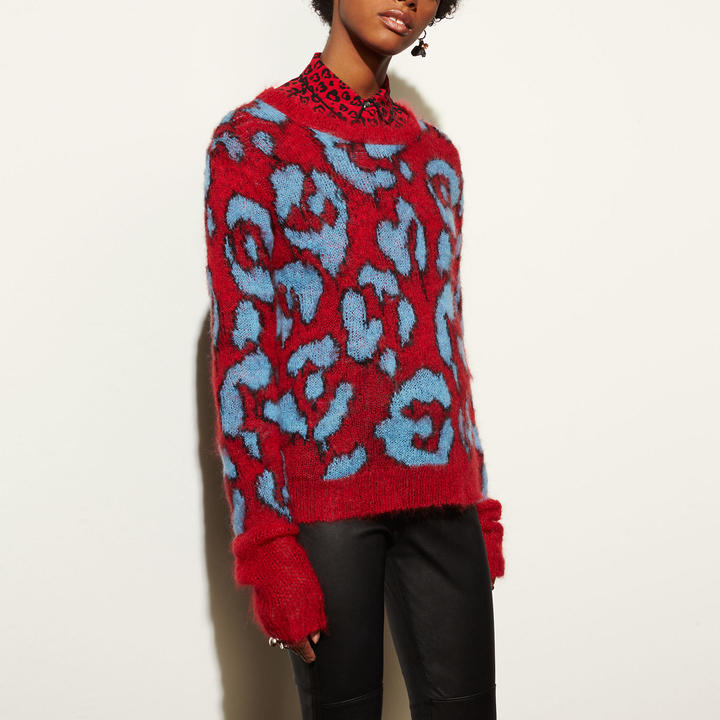 Coach  COACH Coach Wild Beast Intarsia V-neck Sweater