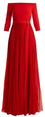 Alexander Mcqueen - Off The Shoulder Stretch Knit And Silk Gown - Womens - Red
