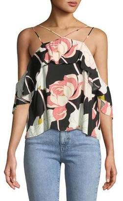 Cupcakes And Cashmere Bixby Strappy Off-the-Shoulder Floral-Print Top