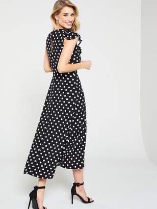 Very Sleeveless Asymmetric Frill Jersey Dress - Print