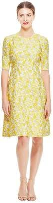 Lela Rose Petite Floral Fil Coupe Holly Elbow Sleeve Dress