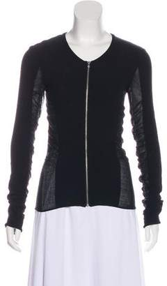 CNC Costume National Ruched Zip-Up Cardigan