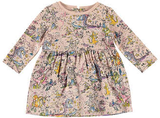 Stella McCartney Dragon Planet-Print Long-Sleeve Dress, Size 6-36 Months
