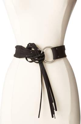 Frye Women's 45MM Pebble Leather Fringe Belt with Ring Buckle