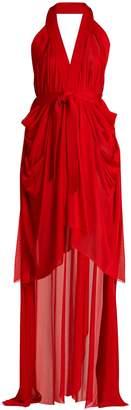 Balmain Halterneck asymmetric jersey wrap dress