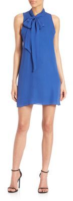 Alice + Olivia Alice + Olivia Cassidy Silk Tie-Neck Shift Dress