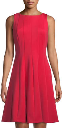 Donna Karan Sleeveless Seamed Fit-and-Flare Scuba Dress