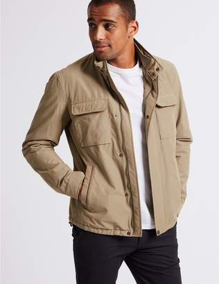 Marks and Spencer Cotton Rich Harrington Jacket with Stormwear