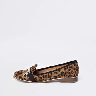 River Island Womens Brown leopard print lock and key loafers