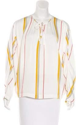 Frame Striped Silk-Blend Top