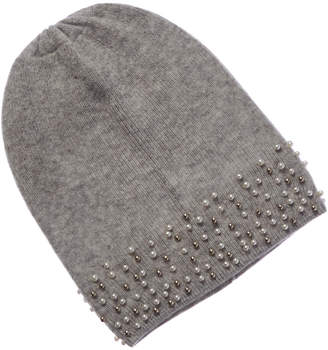 Qi Argento Pearl-Trimmed Cashmere Hat