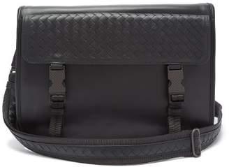 4de39d94929d Bottega Veneta Intrecciato Flap Leather Messenger Bag - Mens - Black