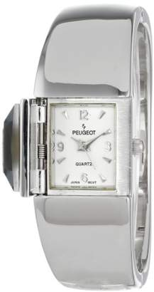 Peugeot Women's 718SJ Silver-Tone Crystal Cover Watch