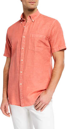 Peter Millar Men's Seaside Linen/Cotton Short-Sleeve Sport Shirt