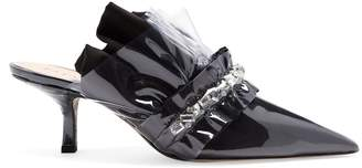 Cesare Paciotti BY MIDNIGHT Crystal embellished kitten-heel mules