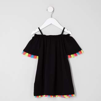 River Island Mini girls Black tassel trim tapeze dress