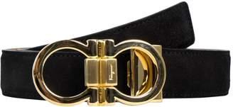 Salvatore Ferragamo Gold Double Gancini Suede Belt Size/100