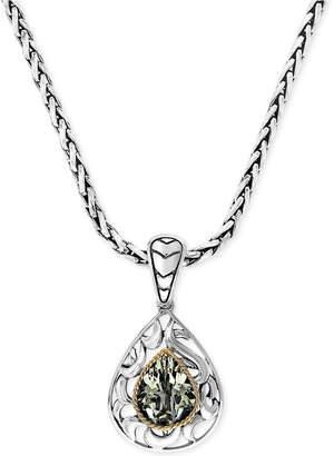 Effy Balissima by Green Quartz Pear Pendant Necklace in 18k Gold and Sterling Silver (2-3/4 ct. t.w.)